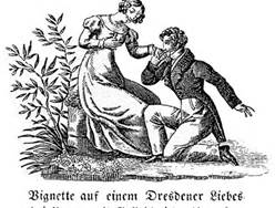 regency woodcut proposal scene