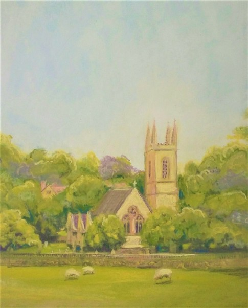 pastel of Chawton Church